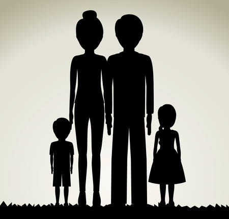 love silhouette: family  design over grey background, vector illustration