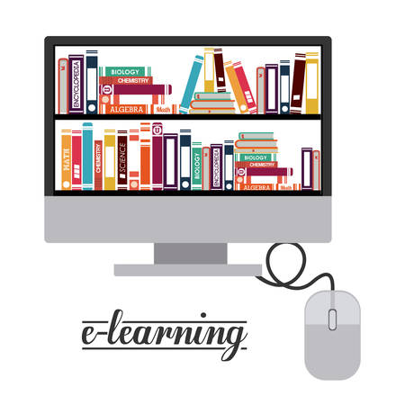 e-learning design over white background, vector illustration Illustration