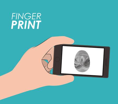 fingermark: Fingerprint design over blue background, vector illustration