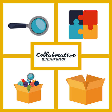 collaborative: Collaborative design over white background, vector illustration Illustration
