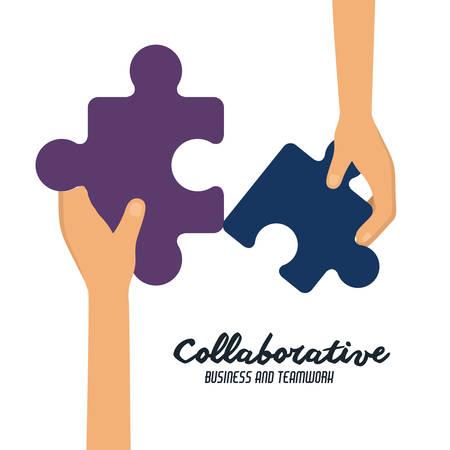 collaborative: Collaborative design over white background, vector illustration Illustration