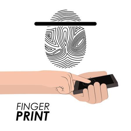 fingermark: Fingerprint design over white background, vector illustration Illustration