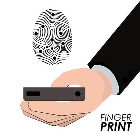 human finger: Fingerprint design over white background, vector illustration Illustration