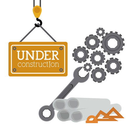 under construction road sign: Under construction design over white background, vector illustration Illustration