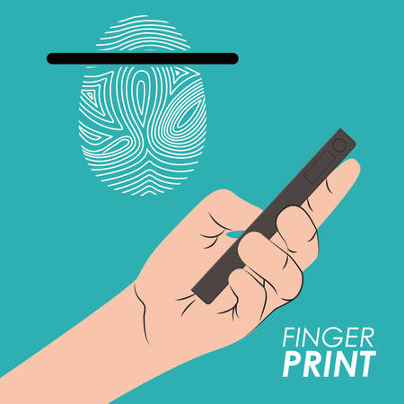 dactylogram: Fingerprint design over blue background, vector illustration