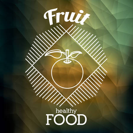 illustratio: Healthy food design over colored crumpled background, vector illustratio,