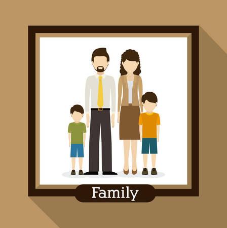 fond brun: la conception de la famille sur fond brun, illustration vectorielle Illustration