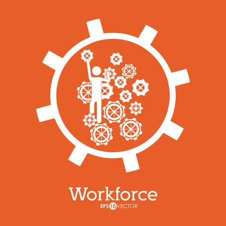 workforce: Workforce design over orange background, vector illustration Illustration