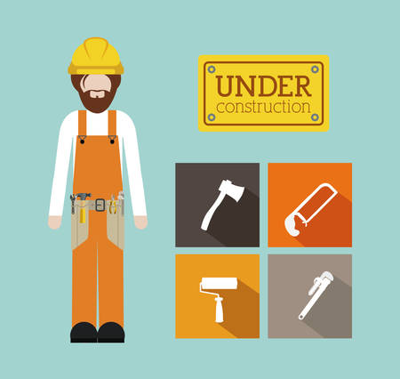 under construction sign with man: Tools design over blue background, vector illustration