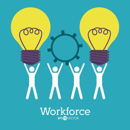 workforce: Workforce design over blue background, vector illustration Illustration