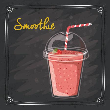 Smoothie design over black grunge background, vector illustration Illustration