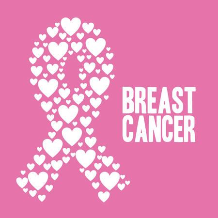 cancer de mama: Dise�o c�ncer de mama sobre fondo rosa, ilustraci�n vectorial