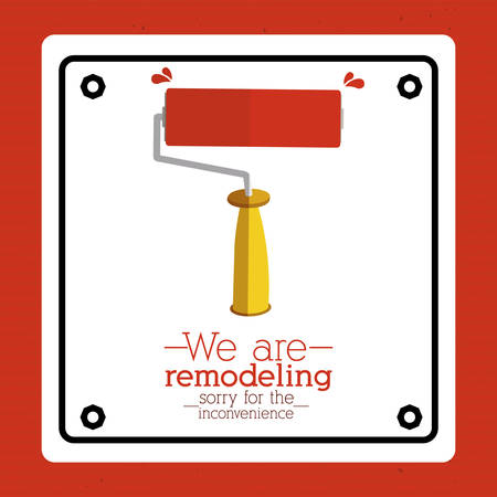 under construction symbol: Under construction design over red background, vector illustration