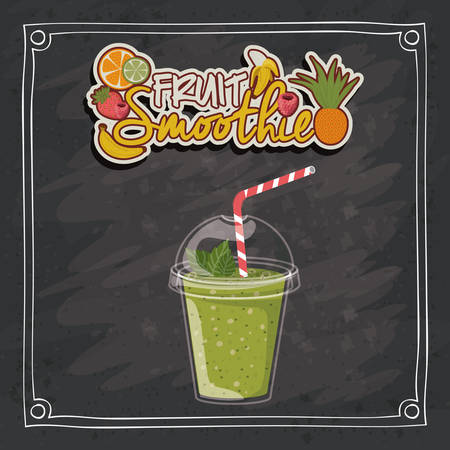 black grunge background: Smoothie design over black grunge background, vector illustration Illustration