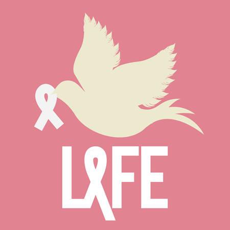 cancer ribbon: Breast cancer design over pink background, vector illustration