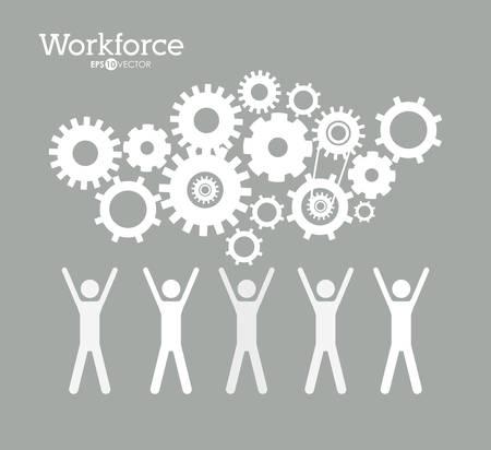 workforce: Workforce design over grey background, vector illustration