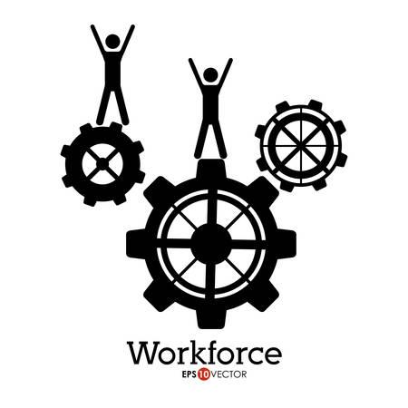 management concept: Workforce design over white background, vector illustration