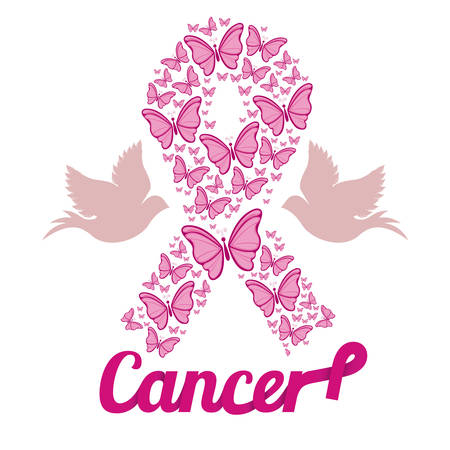 cancer ribbon: Breast cancer design over white background, vector illustration