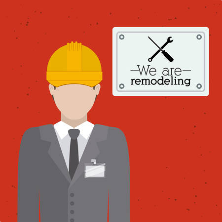 under construction sign: Under construction design over red background, vector illustration