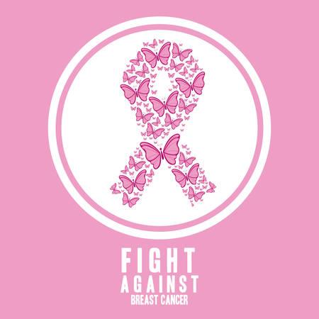 乳房癌設計ベクトル図、ピンクの背景