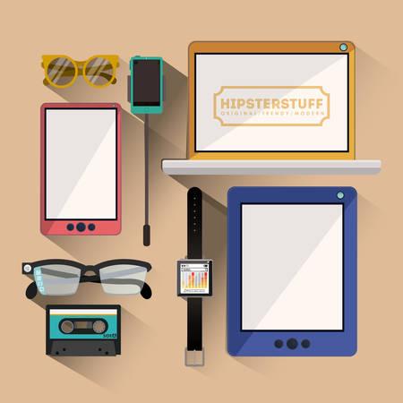 beige background: Hipster design over beige background, vector illustration