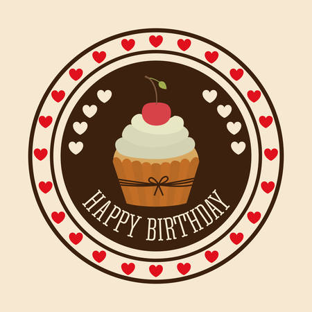 birthday cards: Happy Birthday digital design, vector illustration eps 10