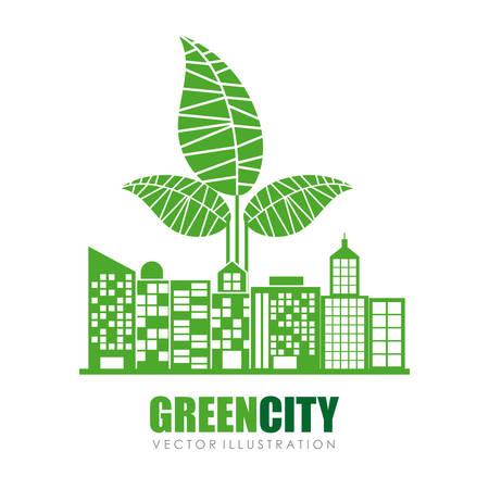 green building: Green city digital design, vector illustration eps 10