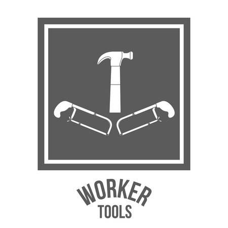 warning saw: Worker Tools  digital design, vector illustration eps 10