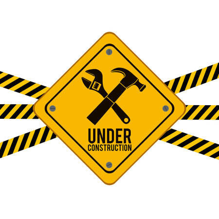 under construction road sign: Worker Tools  digital design, vector illustration eps 10