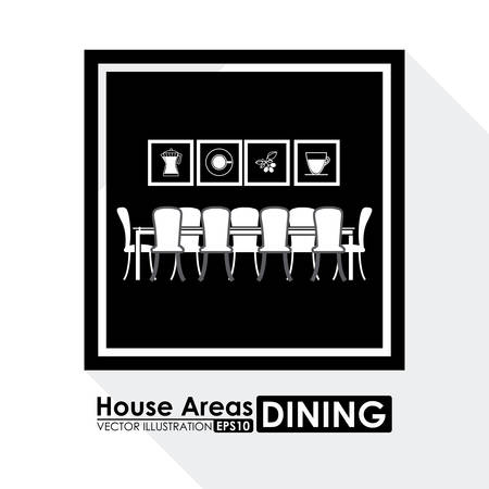 dinning table: House areas digital design, vector illustration eps 10