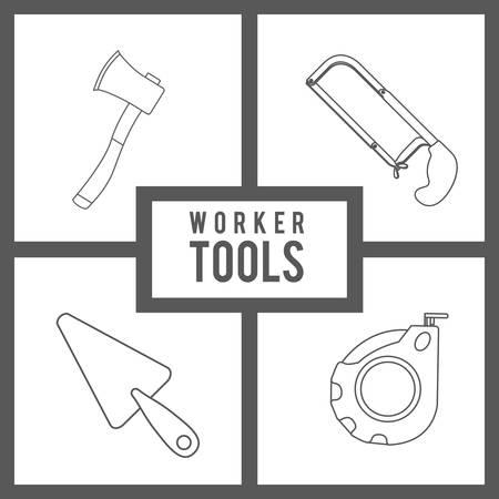 warning saw: Worker Tools  digital design, vector illustration