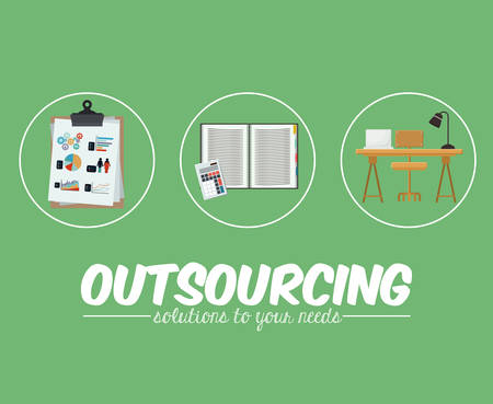 contracting: Outsourcing digital design, vector illustration