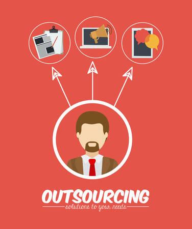 contracting: Outsourcing digital design, vector illustration Illustration