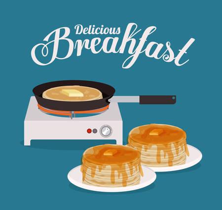 Ontbijt digitaal ontwerp, vector illustratie
