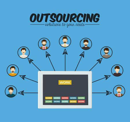 Outsourcing digital design, vector illustration