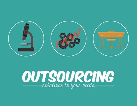 offshoring: Outsourcing digital design, vector illustration Illustration
