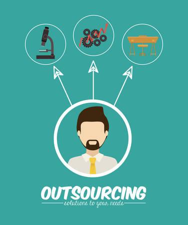 delegate: Outsourcing digital design, vector illustration