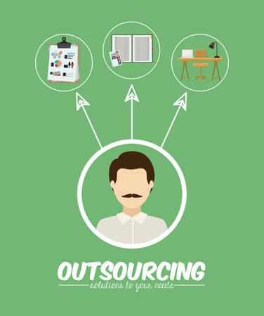 Outsourcing digital design, vector illustration Illustration