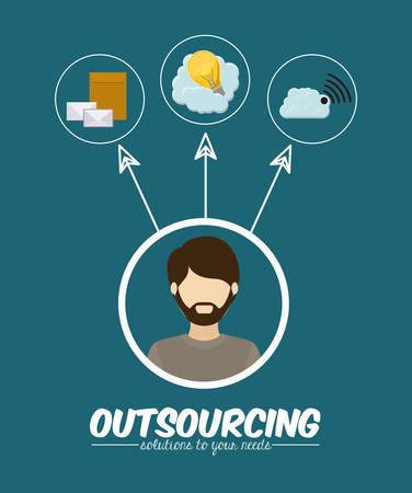outsourcing: Outsourcing digital design, vector illustration Illustration