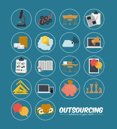 offshoring: Outsourcing digital design, vector illustration