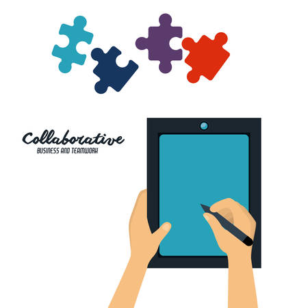 collaborative: Collaborative digital design, vector illustration  Illustration