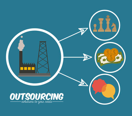 offshoring: Outsourcing digital design, vector illustration