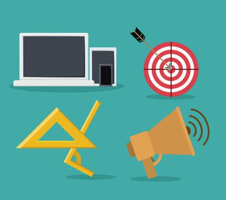 delegate: Outsourcing icons digital design, vector illustration  Illustration