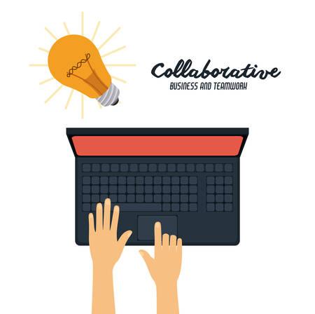 collaborative: Collaborative digital design, vector illustration  Illustration