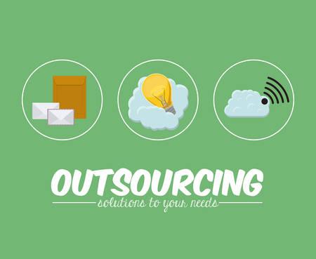 outsourcing: Outsourcing digital design, vector illustration