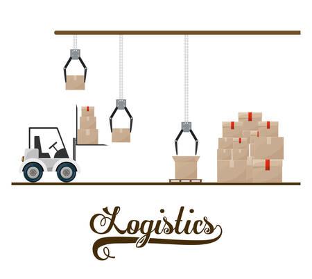 global logistics: Logistics digital design, vector illustration