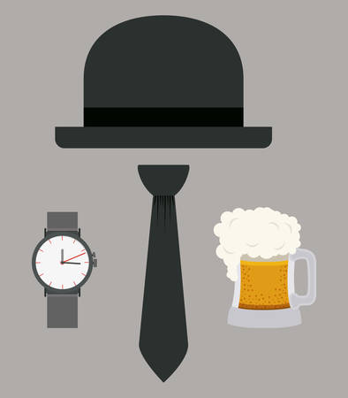 beer and necktie: Men digital design, vector illustration