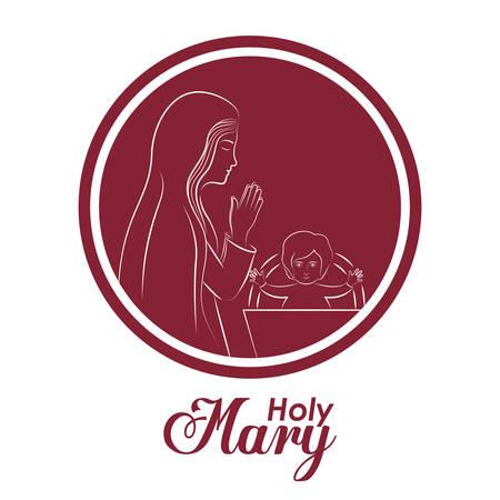 peace stamp: Holy Family digital design, vector illustration eps 10 Illustration
