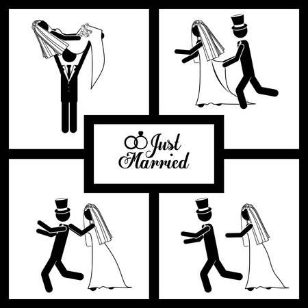 married couples: Married digital design, vector illustration eps 10