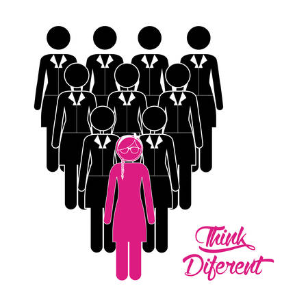 mujeres pensando: Think different digital design, vector illustration eps 10